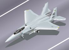 Detailed Isometric Vector Illustration of an F-15 Eagle Jet Fighter on the Ground. Ready for Take-off Stock Images