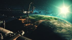 Detailed of ISS orbiting realistic planet Earth