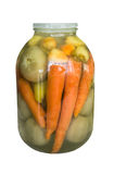 Detailed jar with pickled carrots, pepper and green tomatoes on a white background Royalty Free Stock Photos