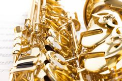 Detailed keys view of shiny alto saxophone Royalty Free Stock Photos