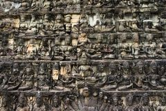 Detailed Khmer Angkor Wat Wall Royalty Free Stock Images