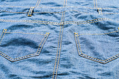 Detailed light blue jeans with pockets Royalty Free Stock Photography