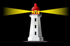 Detailed  lighthouse at night Royalty Free Stock Photography