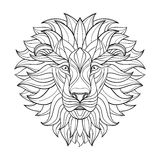 Detailed Lion in aztec style. Patterned head on  background. African indian totem tattoo design. Vector Royalty Free Stock Photos