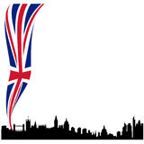 Detailed London silhouette skyline with flag Stock Image