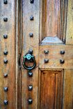 Front door of church in City of Montpelier, Washington County, Vermont, United States, US, USA. Detailed look at beautiful old wooden church door and doorknocker stock photos