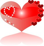 Detailed love red heart greeting Stock Image