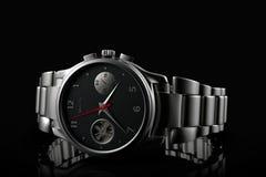 Silver wrist watch and bracelet, close-up on black royalty free illustration