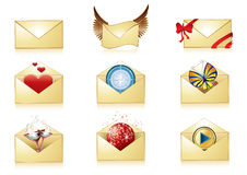 Detailed mail icon set Royalty Free Stock Photos