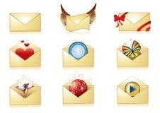 Detailed mail icon set Royalty Free Stock Photos