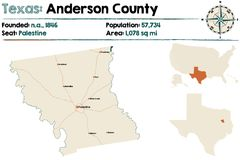 Map of Anderson county in Texas. Detailed map of Anderson county in Texas, USA Royalty Free Stock Image