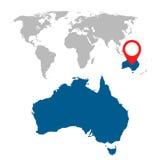 Detailed map of Australia, Oceania and World map navigation set. Flat vector illustration Stock Photos