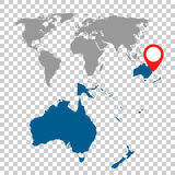 Detailed map of Australia, Oceania and World map navigation set. Flat vector illustration Royalty Free Stock Image