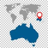 Detailed map of Australia and World map navigation set. Flat vec. Tor illustration Stock Photos