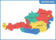 The detailed map of the Austria with regions or states and cities, capital Royalty Free Illustration