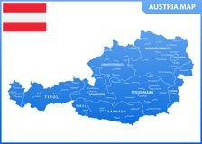 The detailed map of the Austria with regions or states and cities, capital, national flag Stock Illustration