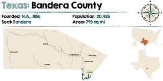 Map of Bandera county in Texas. Detailed map of Bandera county in Texas, USA Royalty Free Stock Images