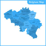 The detailed map of the Belgium with regions or states and cities Stock Image