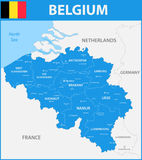 The detailed map of the Belgium with regions or states and cities, capitals. The detailed map of the Belgium with regions or states and cities, capitals Royalty Free Stock Photos