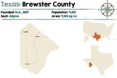 Map of Brewster county in Texas. Detailed map of Brewster county in Texas, USA Royalty Free Stock Photos
