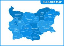The detailed map of Bulgaria with regions or states and cities, capital. Administrative division Vector Illustration