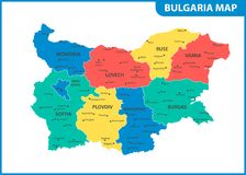 The detailed map of Bulgaria with regions or states and cities, capital. Administrative division Royalty Free Illustration