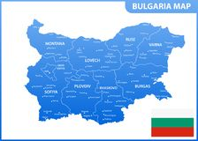 The detailed map of Bulgaria with regions or states and cities, capital. Administrative division Stock Illustration