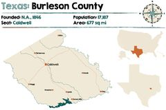 Map of Burleson county in Texas. Detailed map of Burleson county in Texas, USA Royalty Free Stock Photo