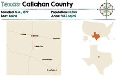 Map of Callahan county in Texas. Detailed map of Callahan county in Texas, USA Stock Images