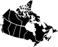Detailed Map of Canadian Territories. Each territory labeled on a seperate layer Stock Photo