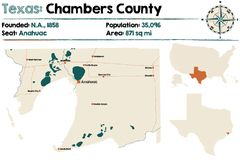 Map of Chambers county in Texas. Detailed map of Chambers county in Texas, USA Royalty Free Stock Image