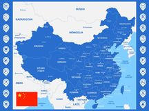 The detailed map of China with regions or states and cities, capitals. With map pins or pointers. Place location markers or signs.  Royalty Free Stock Images