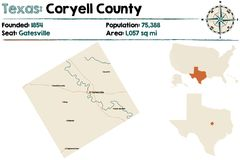 Map of Coryell county in Texas. Detailed map of Coryell county in Texas, USA Royalty Free Stock Images