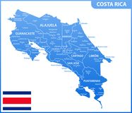 The detailed map of Costa Rica with regions or states and cities, capital. Administrative division Stock Illustration