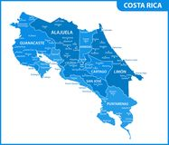The detailed map of Costa Rica with regions or states and cities, capital. Administrative division Vector Illustration