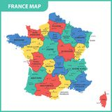 The detailed map of the France with regions or states and cities, capital.  Stock Images