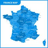 The detailed map of the France with regions or states and cities, capital.  Royalty Free Stock Photography