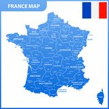 The detailed map of the France with regions or states and cities, capital, national flag.  Stock Images