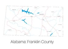 Map of Franklin county in Alabama. Detailed map of Franklin county in Alabama, USA vector illustration