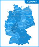 The detailed map of the Germany with regions or states and cities, capitals Royalty Free Stock Image