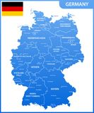 The detailed map of the Germany with regions or states and cities, capitals, national flag Royalty Free Stock Image