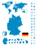 Detailed map of Germany and World map navigation set Stock Image