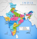 Detailed map of India, Asia with all states and country boundary. Illustration of detailed map of India, Asia with all states and country boundary Royalty Free Stock Photo