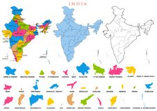 Detailed map of India, Asia with all states and country boundary. Illustration of detailed map of India, Asia with all states and country boundary Stock Photos