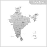 The detailed map of the India with regions and Sri Lanka Stock Image