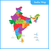 The detailed map of the India with regions or states and cities, Royalty Free Stock Photo