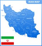 The detailed map of Iran with regions or states and cities, capital. Administrative division. Royalty Free Illustration