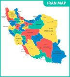 The detailed map of Iran with regions or states and cities, capital. Administrative division. Stock Illustration