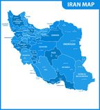 The detailed map of Iran with regions or states and cities, capital. Administrative division. Vector Illustration