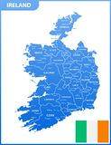The detailed map of the Ireland with regions or states and cities, capitals, national flag. Vector illustration Stock Photos